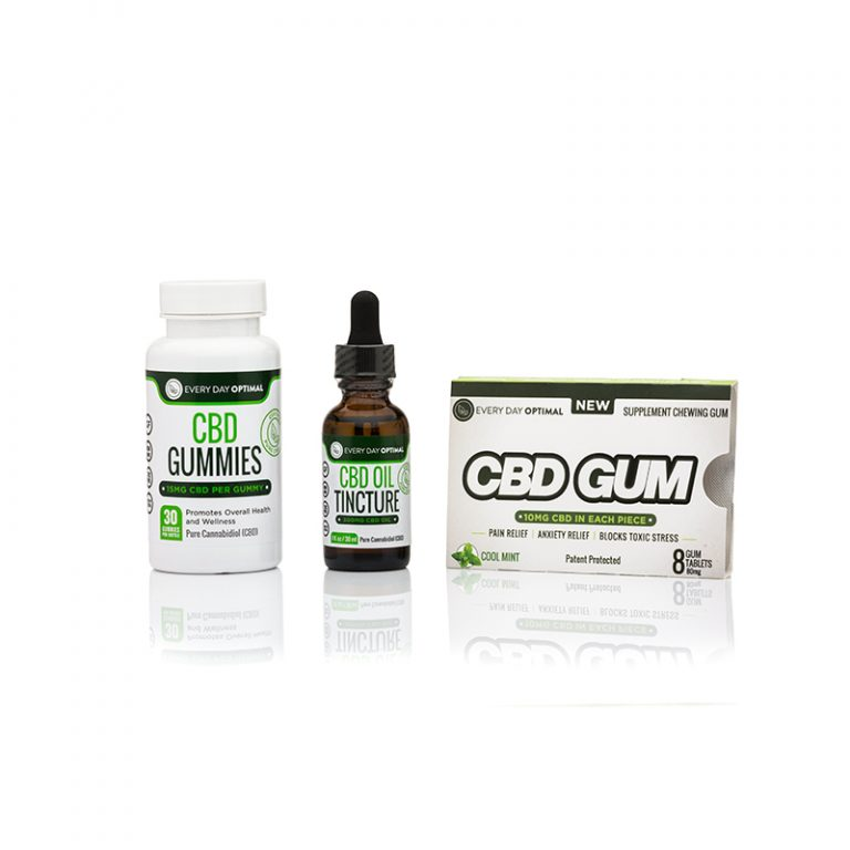 CBD Bundle #3 | 300mg CBD Tincture, 1 Bottle CBD Gummies, 1 CBD Gum