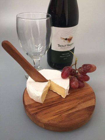 Small Round Cheese Board - includes short wooden knife
