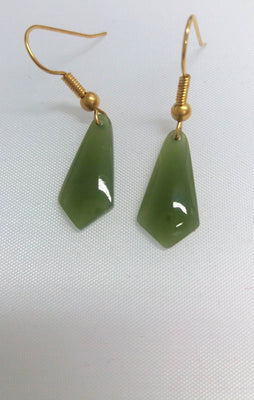 Greenstone Jade Pointed Drop Earrings