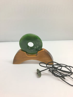 Greenstone Jade Large Disc on Stand or Pendant