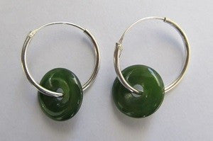 Greenstone Jade Disc Earrings - Small Sterling Silver