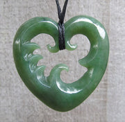 Greenstone Jade Wave Heart