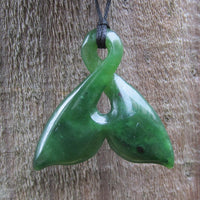 Greenstone Jade Whale Tail Pendants