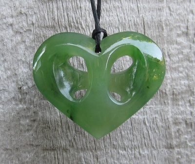 Greenstone Jade Cross Heart Pendant