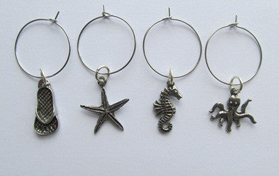 Pewter Wine Charms - Beach