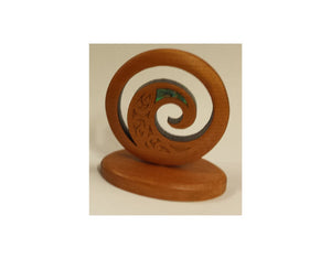 Maori Koru native wood sculpture