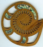 Rimu Wood Spiral Shell Coasters with Paua Shell - set of 4