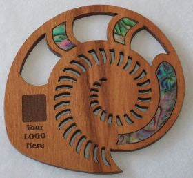 Rimu Wood Spiral Shell Coasters with Paua Shell for Corporate Gifts