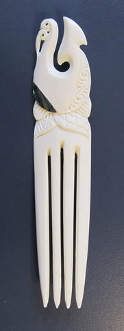 New Zealand Maori Large Hook Heru - bone hair comb decorated with paua