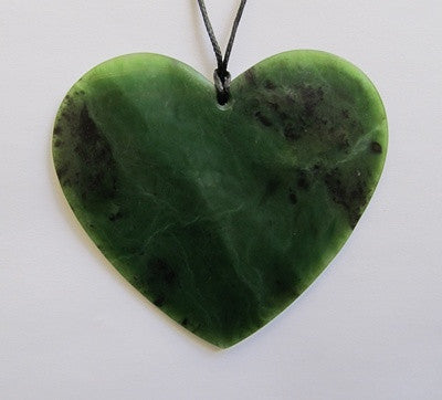 Heart Shaped Greenstone Jade Pendant - Large
