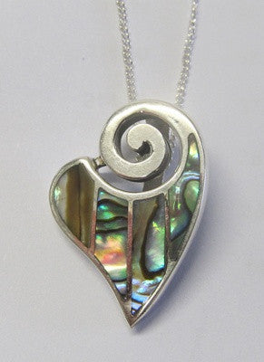 Paua Shell and Sterling Silver Heart Shaped Pendant