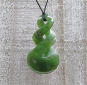 Greenstone Jade Double Twist Pendant 5cm