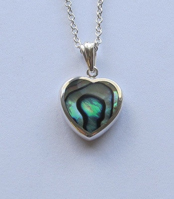 Paua Shell and Sterling Silver Heart - Small