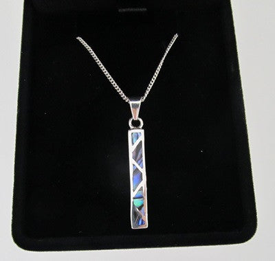 Paua Shell and sterling silver Zig Zag Pendant