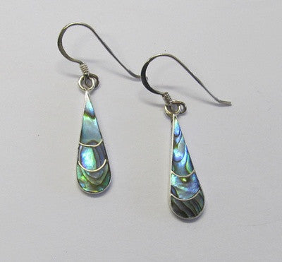 Sterling Silver & Paua Tear Drop Earrings