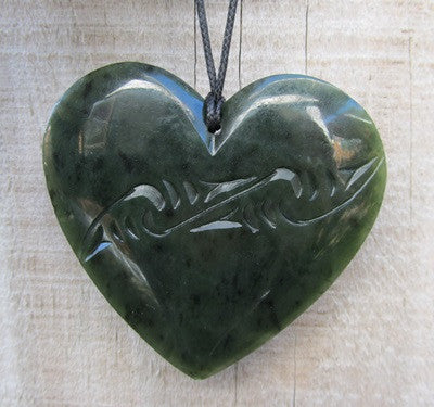 Heart Shaped Greenstone Jade Engraved Pendant - Large