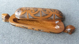 Large Maori Wakahuia  Carved Wooden Feather Box