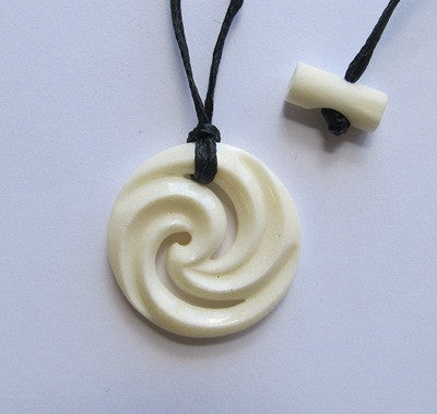 Double Koru Maori  Deer Button  Pendant - Boxed
