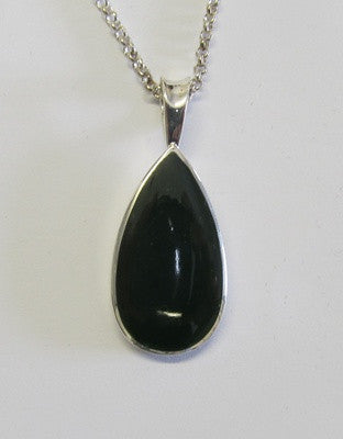 Greenstone Jade and Sterling Silver Teardrop Pendant