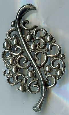 Leaf Brooch Pewter