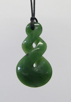 Greenstone Jade Double Twist Pendant 3.3cm