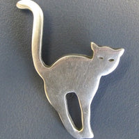 Pewter Brooch Arched Cat