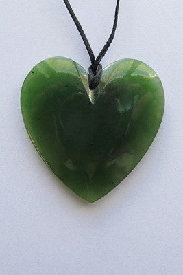 Heart Shaped Greenstone Pendant - Small