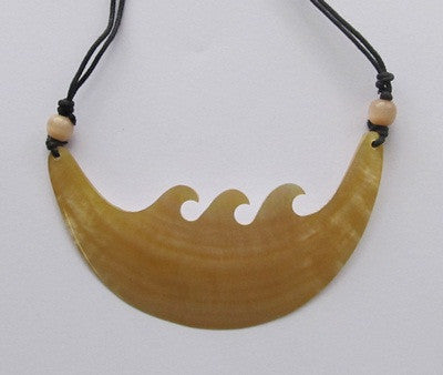 Cream wave mother of pearl shell pendant