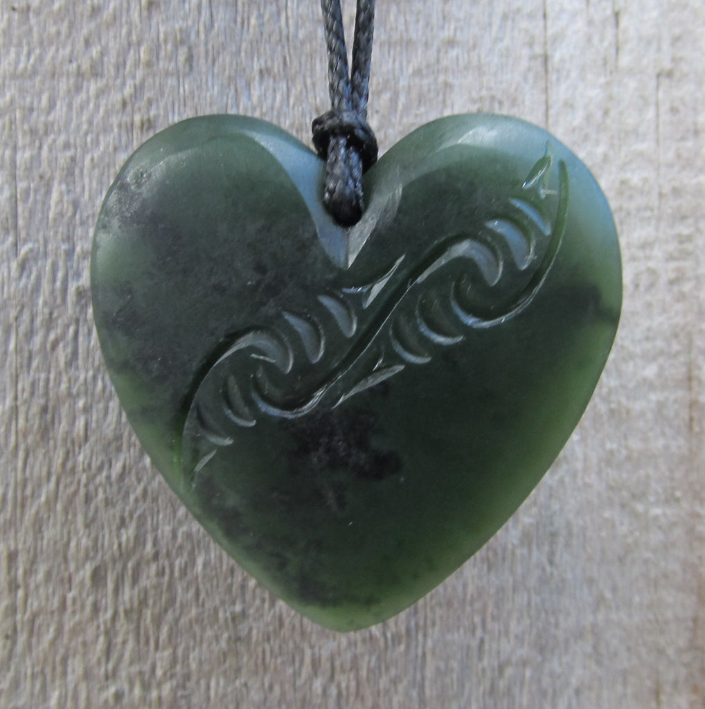 Heart Shaped Greenstone Jade Engraved Pendant - Small