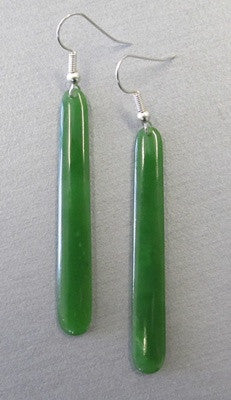 Greenstone Jade Drop Earrings - Sterling Silver