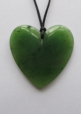 Greenstone Jade - Heart Shaped Pendant -  Small