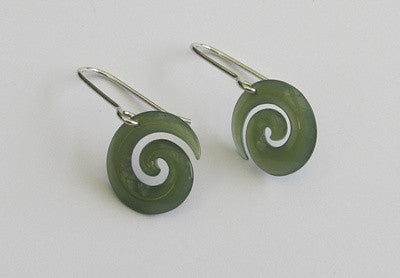 Greenstone Jade Koru Earrings