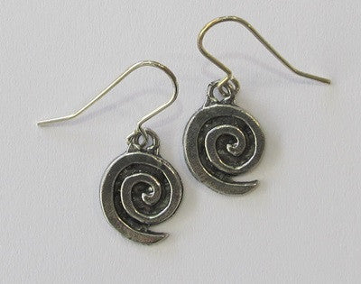 Pewter Round Spiral Earrings