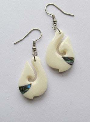 Fish Hook Bone Earrings with Paua