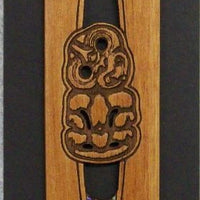 Maori Rimu Wood Tiki Book Mark with Paua Shell