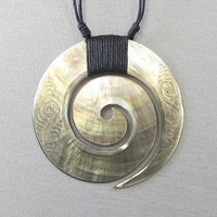 Mother of Pearl Koru Shell Pendant - etched