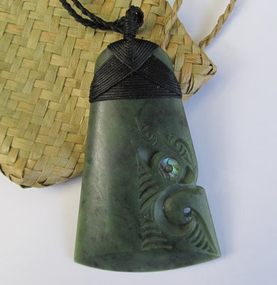 Greenstone Jade Toki with a traditional bound head - Manaia