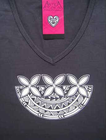 Frangipani Tee Shirt - Black with white print - womens