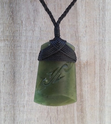 Greenstone Jade Adze Toki Carved Pendant- bound head