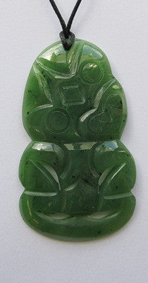 Greenstone Jade Tiki Pendant Medium - 6 cm