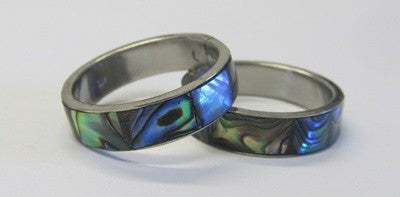 Paua shell and steel ring