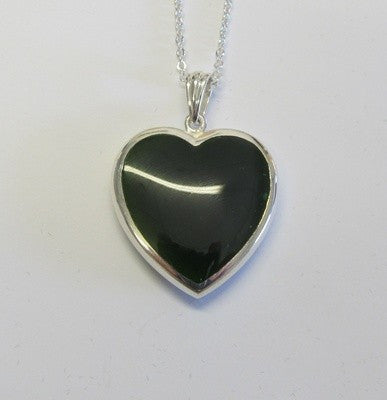 Greenstone Jade and Sterling Silver Heart - Large