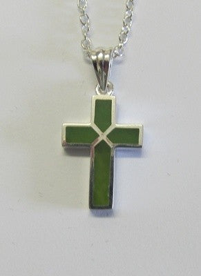 Greenstone Jade and Sterling Silver Cross