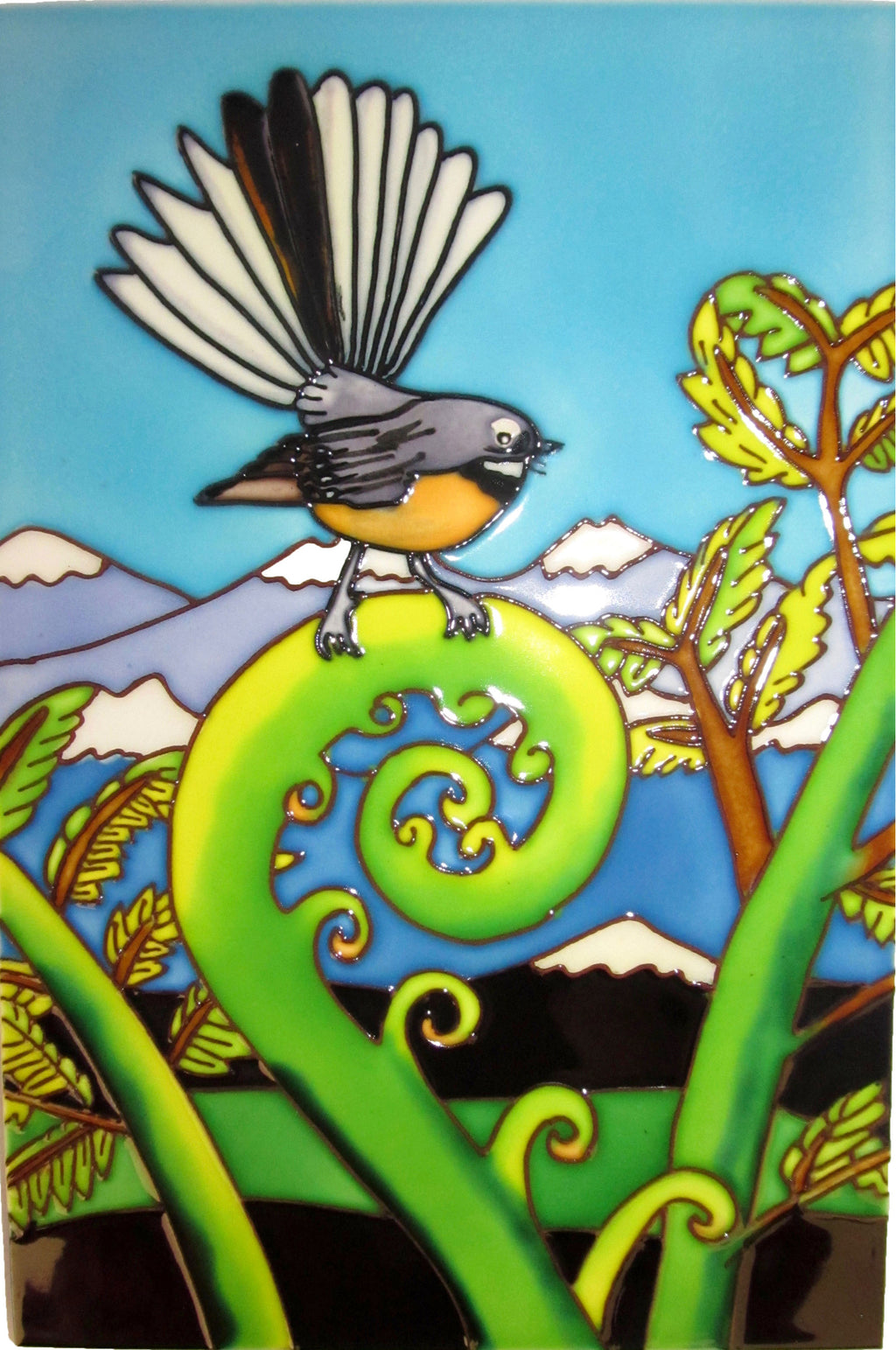 Ceramic Wall Art Tile - Large Fantail