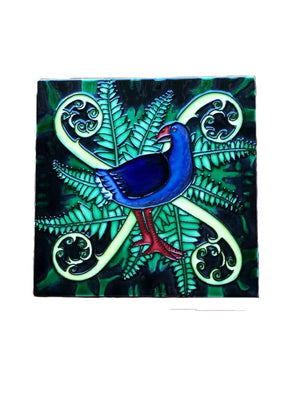 Ceramic Wall Art Tile - Pukeko and Koru's