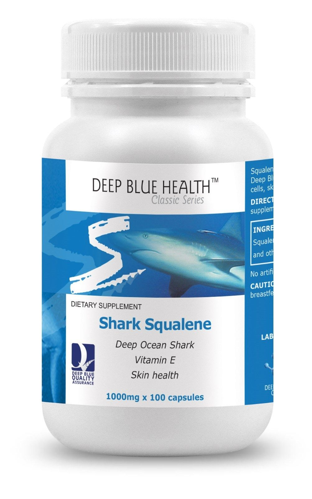 Squalane 1000mg - From Shark Liver Oil  100 capsules