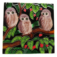 Ceramic Wall Art Tile - Morepork chicks in a Puriri tree