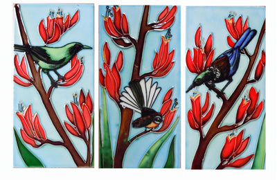 Ceramic Wall Art Tile - Triptych Flax 3 tiles (7.5x15cm)