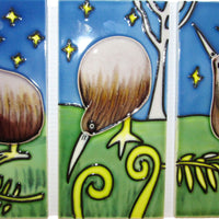 Ceramic Wall Art Tile - Triptych Kiwi 3 tiles (7.5x15cm)