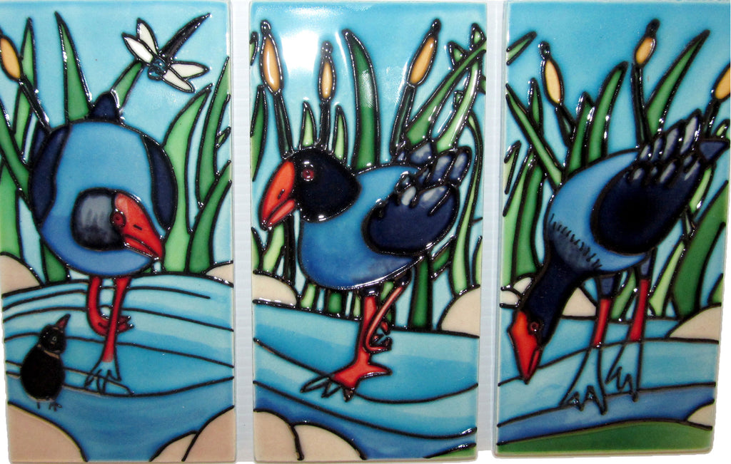 Ceramic Wall Art Tile - Triptych Pukeko 3 tiles (7.5x15cm)